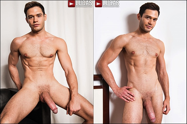Big-dicked Leo Alexander & Tomas Brand bareback flip-fuck and Leo gets his tight virgin ass popped up at Lucasentertainment
