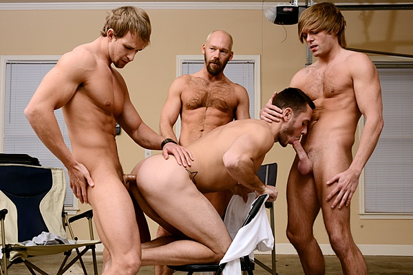 Cameron Foster, Mike Tanner & Morgan Shades fuck Bolton Brenner before they give Bolton a big cum shower in My Brother in Law Part 8 at Jizzorgy