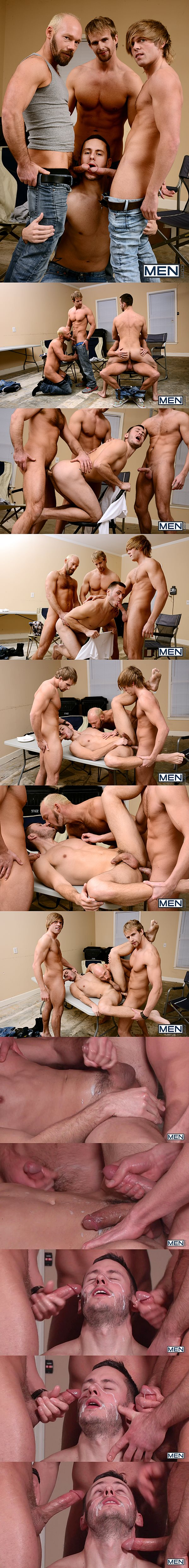 Cameron Foster, Mike Tanner & Morgan Shades fuck Bolton Brenner before they give Bolton a big cum shower in My Brother in Law Part 8 at Jizzorgy 02
