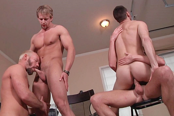 A Sneak Peek of Cameron Foster, Mike Tanner and Morgan Shades fucking Brenner Bolton at Jizzorgy 01