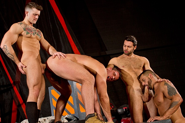 Sebastian Kross fucks Dario Beck, David Benjamin and Derek Atlas in Clusterfuck at Ragingstallion