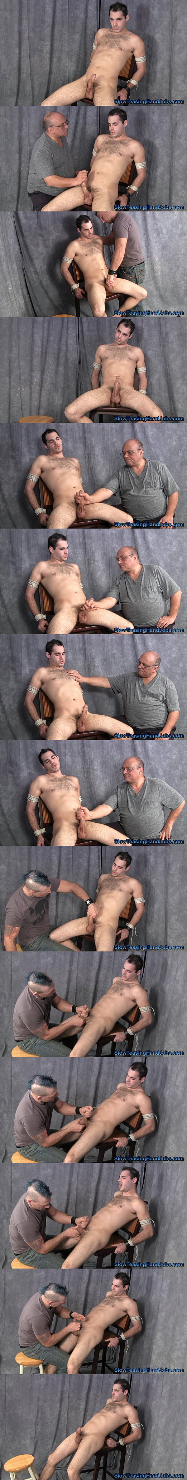 Handsome straight jock Roger gets edged and jerked off by master Rich and Scott in Tag Team Edging at Slowteasinghandjobs 02
