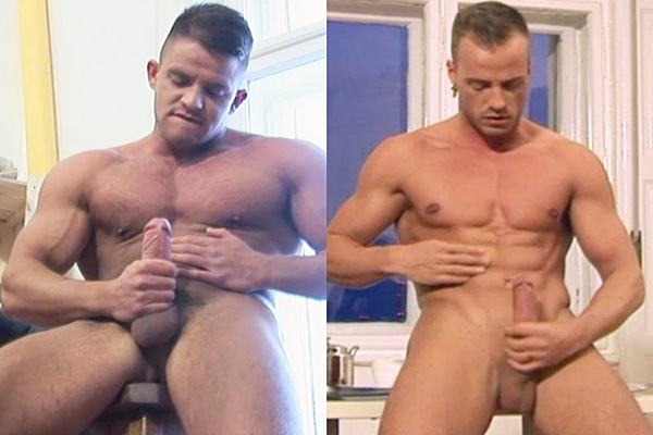 Hot muscle hunk COLT model Marlon Segura & Jamie Blyton shoot their hot loads at Coltstudiogroup