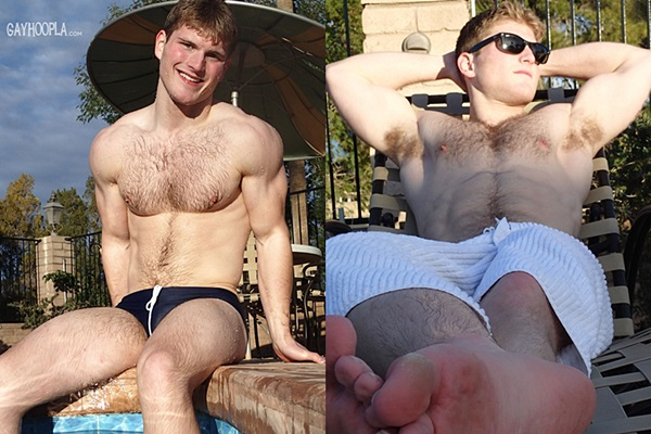 Hot new muscle jock, athletic swimmer Aaron Dickson gets his tight virgin ass popped up at Gayhoopla