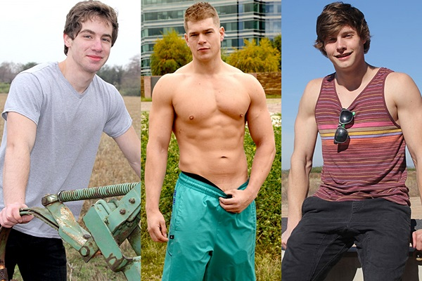 Hot newcomers Eric Morning, Miles Houston & Clay Anker show their sexy naked bodies before they jerk off at Gayhoopla