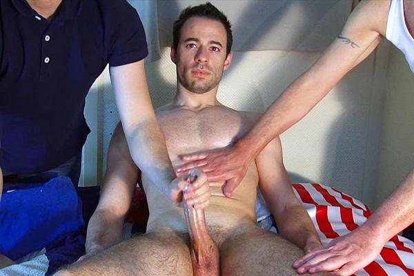 Masculine, handsome soccer player Sebastien gets his big dick serviced before he shoots his huge load at Keumgay
