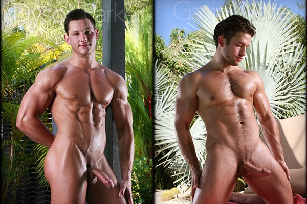 Two gorgeous muscle jocks Dyson Parker & Gavin Wolfe shoot their big thick loads at Legendmen