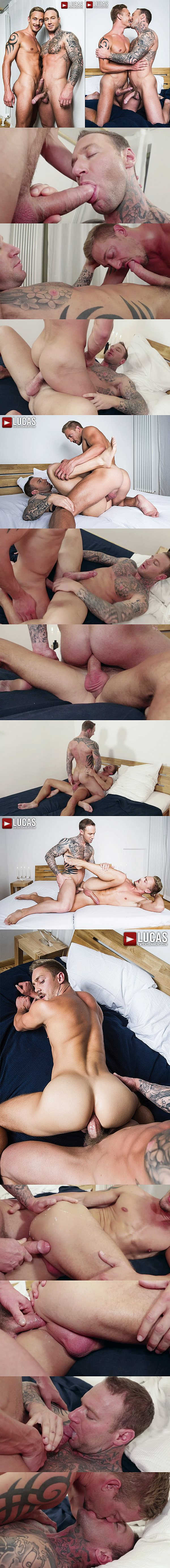 Hot muscle stud Dylan James & Michael Lachlan bareback flip-fuck before Dylan breeds Michael at Lucasentertainment 02