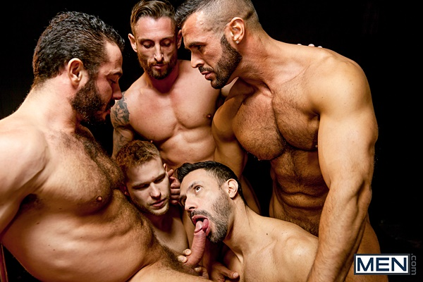 Jessy Ares fucks Denis Vega, Flex, Nick North and Malek Tobias before they give Malek a hot cum shower in Bottom Buffet at Jizzorgy