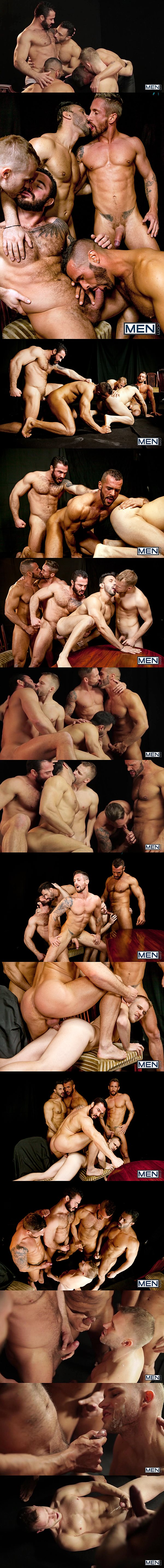 Jessy Ares fucks Denis Vega, Flex, Nick North and Malek Tobias before they give Malek a hot cum shower in Bottom Buffet at Jizzorgy 02