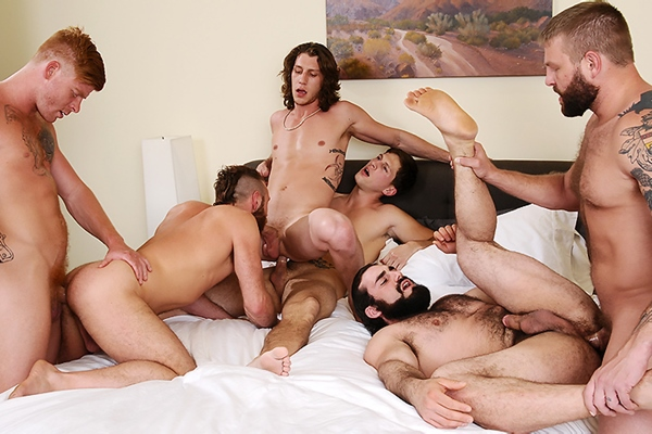 A Sneak Peek of Bennett Anthony, Colby Jansen & Roman Todd Fucking Gus Turner, Paul Canon & Jaxton Wheeler at Jizzorgy 01