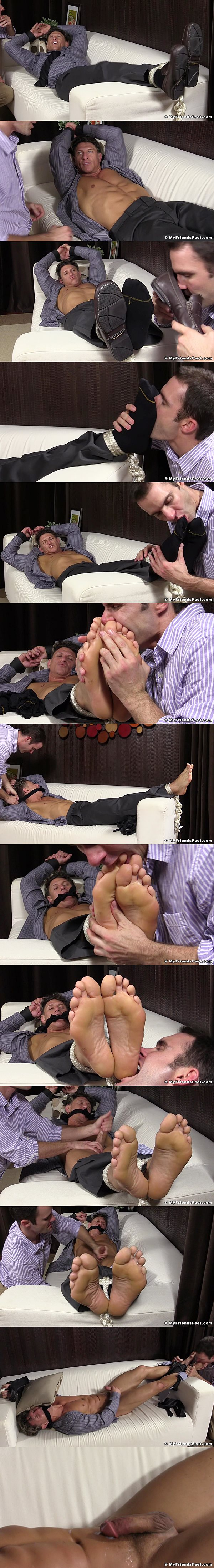 Bryce Evans gets tied up and foot worshiped by Cameron Kincade until Bryce shoots his hot cum at Myfriendsfeet 02