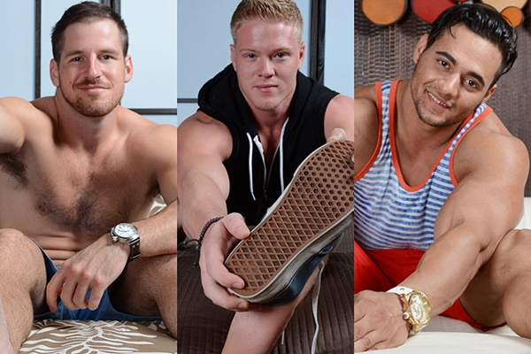 Gorgeous muscle jock Chance Cruise, Seamus & Tony Rock show off their hot ripped bodies and big sexy feet at Myfriendsfeet