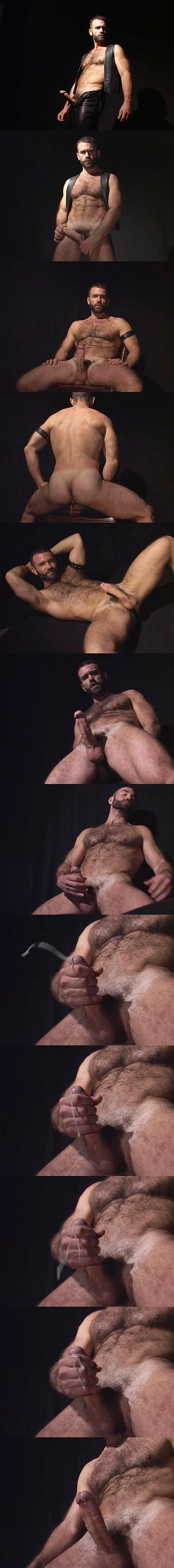Hot muscle daddy Ray Dragon jerks a big thick load out of his hard boner at Raydragon