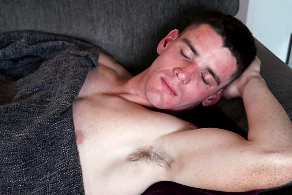 Handsome straight jock Logan Daniels gets his big thick load jerked out of his hard pole in Base Security at Sleepingmen