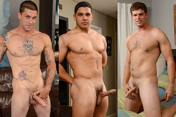 Handsome straight muscle jocks Chris, Colt and Jake show off their hot naked bodies before they shoot their hot cum at Spunkworthy