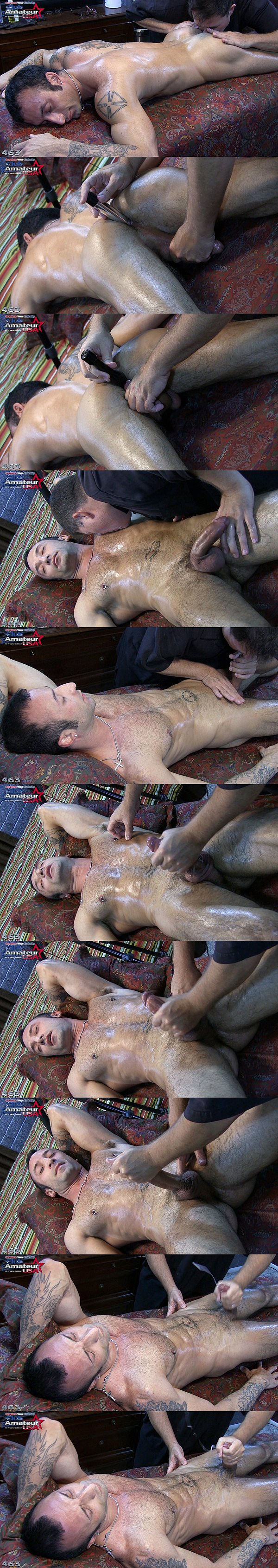 Sexy hairy Italian straight hunk Sesso gets massaged, finger and dildo fucked before he gets his hot cum jerked out of his hard fat cock in CAUSA 463 at Clubamateurusa 02