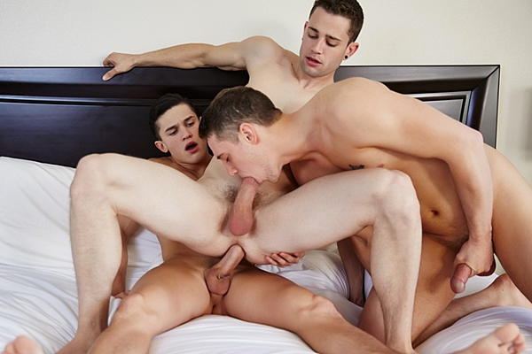 Hot college dudes Colt, Kennedy & Quinn bareback each other before Colt and Kennedy breed each other with two sticky loads in Colt, Kennedy & Quinn's Fuck Fest at Corbinfisher