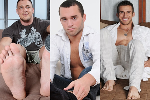 Hot muscle jocks Joey D, Killian & Michael Fitt show off their sexy bodies and big bare feet at Myfriendsfeet
