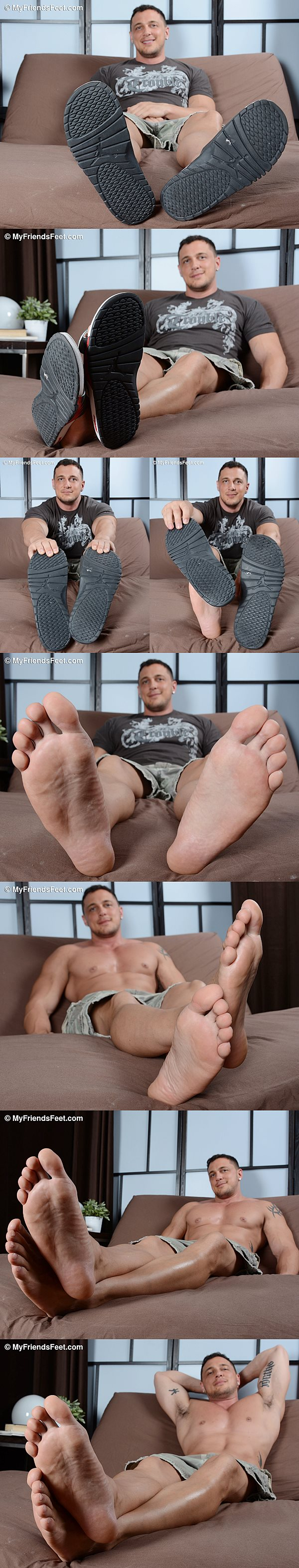 Hot muscle hunk Joey D shows off his sexy body and size 12 feet in Joey's Slides & Big Sexy Feet at Myfriendsfeet