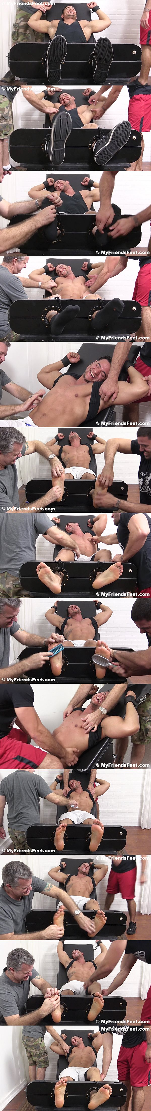 Sexy muscle jock Tony Rock gets tied up and tickled by Ricky Larkin and another foot master until he goes crazy at Myfriendsfeet 02