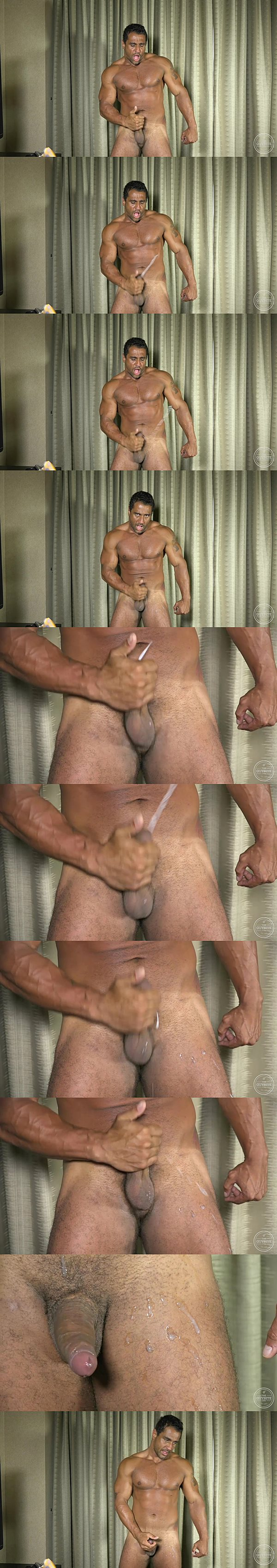 Rugged handsome Brazilian muscle hunk Apollo jerks a big load out of his hard cock at Theguysite