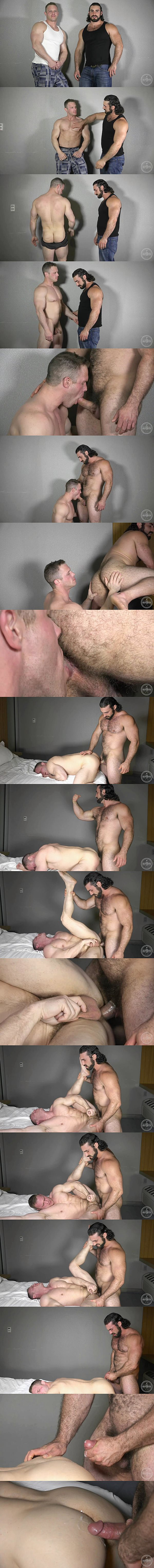 Sexy hairy hunk Jaxton Wheeler fucks muscled stud Zach's tight bubble ass until he fucks the cum out of Zach at Theguysite 02