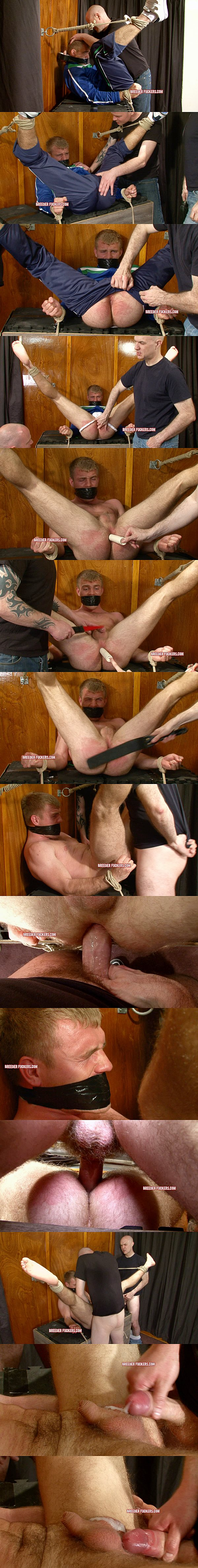 Hot athletic hetero fucker John gets dominated, humiliated & fucked with foot torment, spanking, ass fingering, electro shocks and dildo play at Breederfuckers 02