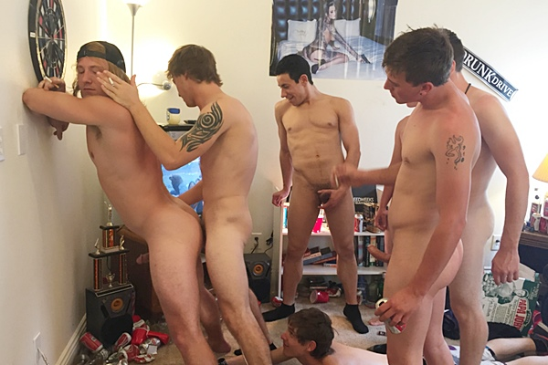 Troy, Tyler, Orlando, Alex & Blake gangbang bareback Tom (aka Tom Faulk) until they creampie Tom in Pinned Down & Pounded at Fraternityx