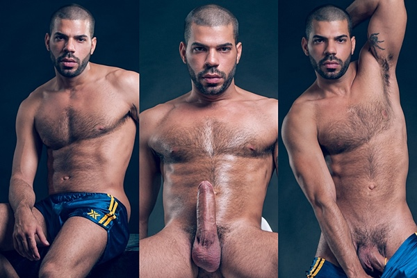 Hot newcomer, sexy latin muscle hunk Hugo Arenas strokes a nice load out of his hard cock at Fuckermate