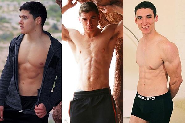 Hot new athletic jocks Brett Cady, Joel Wentz & Tommy Dovas shoot their hot loads at Gayhoopla