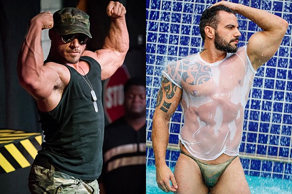 Rugged handsome muscle hunk Joey Van Damme has a hot strip stage show in BBJAM #35 and hot Brazilian muscle hunk Gustavo shows off his hot naked muscled body before he jerks off in Pool Time at Jimmyzproductions