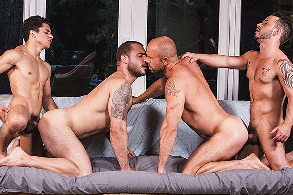 Armond Rizzo & Rafael Lords bareback hot macho daddies Pedro Andreas & Matt Stevens until Armond breeds Matt at Lucasentertainment