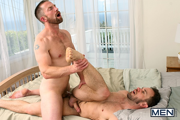 Adam Herst fucks hot macho daddy Ryan Wilcox's tight ass before he gives Ryan a big facial in Son Swap Part 4 at Drillmyhole