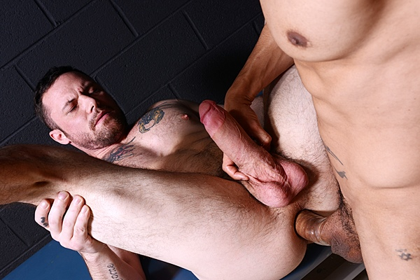 Monster-cocked Rafael Alencar power fucks macho hunk Sergeant Miles until they shoot two big creamy loads in Dr Anal at Drillmyhole