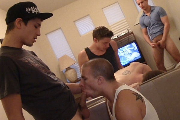 Andrew, Drake, Jacques & Santiago gangbang bareback and creampie Eli Hunter & Cadence in More Loads at Sketchysex