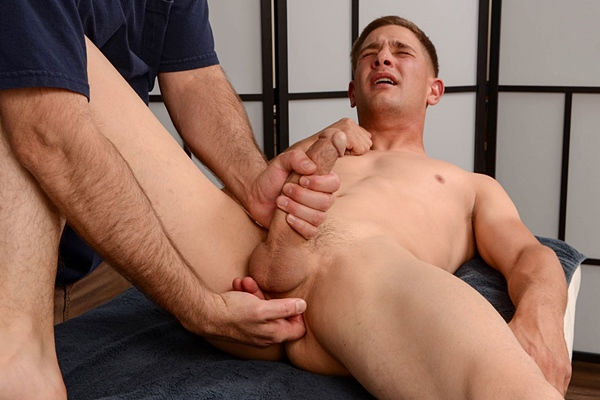 Cute straight lad Chase gets massage, sucked and ass fingered before he gets his hot cum jerked out of his hard cock in Chase's Massage at Spunkworthy