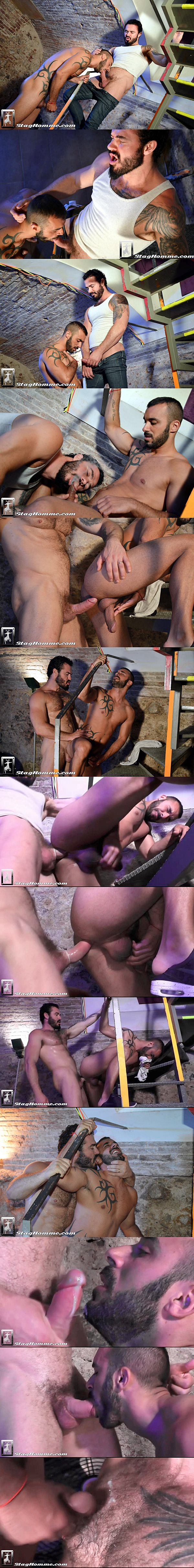 Jessy Ares fucks masculine Spanish hunk Xavi Duran's tight virgin ass before he gives Xavi a big facial at Staghomme 02