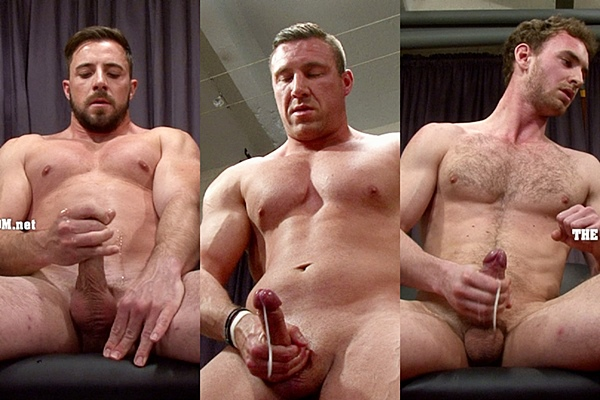 Hot straight guys Brendon, George and Marcus show off their hot naked bodies before they jerk off at Thecastingroom