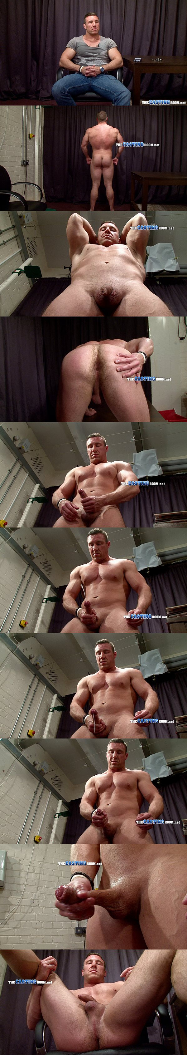 Masculine bodybuilder George shows us his gorgeous muscular body before he shoots a big load at Thecastingroom