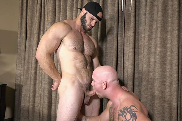 Junior fucks hot hairy hunk Johnny's tight ass until they shoot two creamy loads at Theguysite