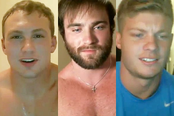 Hot new muscle jocks Brad, James & Jesse shoot their hot loads in their first time webcam at Gayhoopla