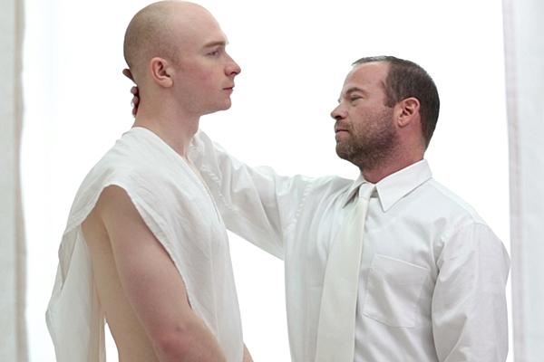 President Woodruff explores Elder Larsen's naked body and deep-throats Larsen's cock until Larsen cums in Woodruff's mouth in Initiation at Mormonboyz