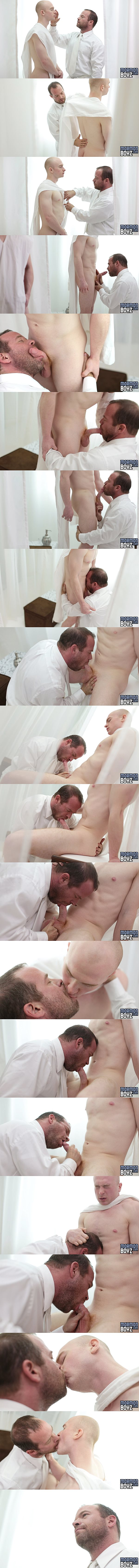 President Woodruff explores Elder Larsen's naked body and deep-throats Larsen's cock until Larsen cums in Woodruff's mouth in Initiation at Mormonboyz 02