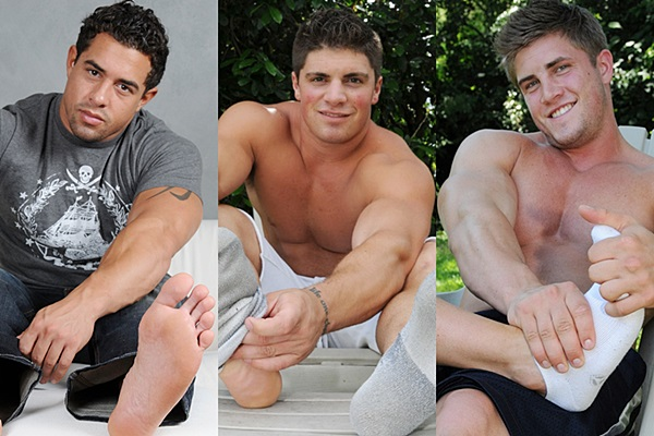 Hot straight muscle jocks Sonny, Dominic and Finn show off their hot ripped bodies and big feet before they get tickled and foot worshiped at Myfriendsfeet