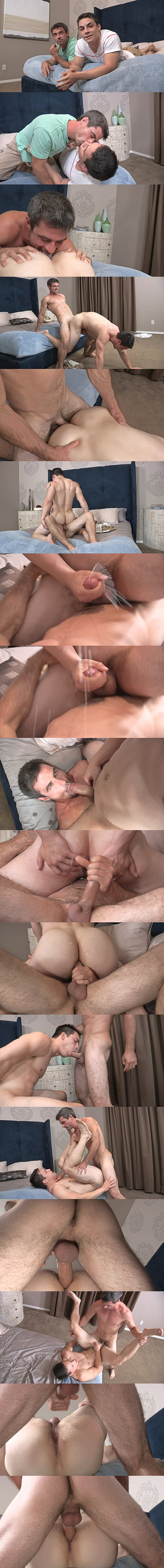 Daniel barebacks Ollie's tight ass before he fucks two big loads out of Ollie and breeds Ollie twice at Seancody 02