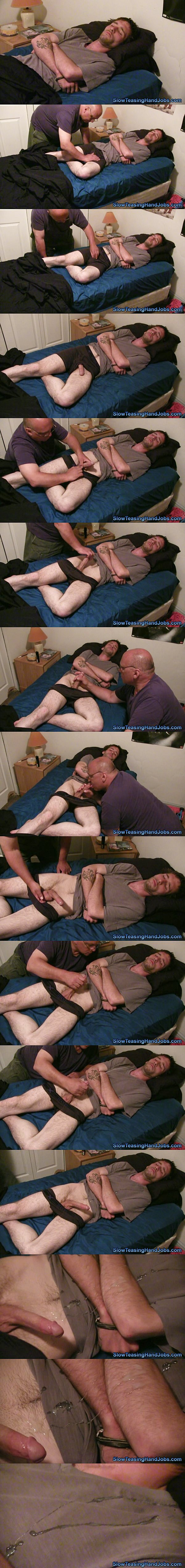 Hot straight lad Jim gets his big loads jerked off his hard cock in Sleeping Jim's Slow Hand Job at Slowteasinghandjobs 02