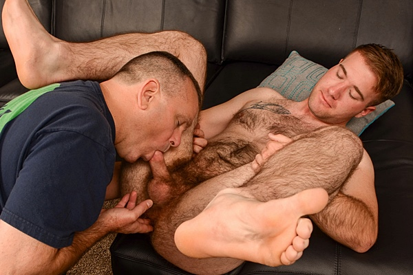 Hot hairy Marine Lance gets dick sucked and ass fingered before he gets his hot load jerked out of his hard cock at Spunkworthy