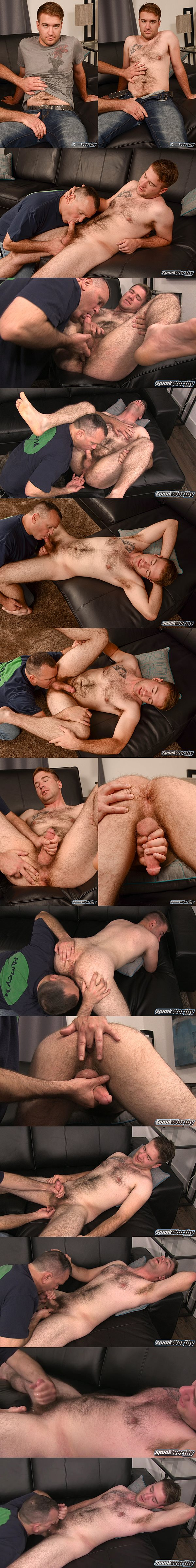 Hot hairy Marine Lance gets dick sucked and ass fingered before he gets his hot load jerked out of his hard cock at Spunkworthy 02