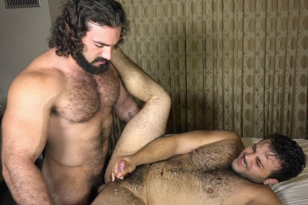 Sexy hairy hunk Jaxton Wheeler pounds hairy bear Marcelo before he fucks the cum out of Marcelo at Theguysite